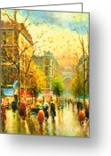 Sunrise Mixed Media Greeting Cards - Walking In The Rain Greeting Card by Zeana Romanovna