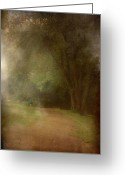 Layered Textures Greeting Cards - Walking Into A Dream - Holmdel Park Greeting Card by Angie McKenzie
