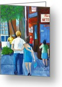 Streets Of Montreal Greeting Cards - Walking on a Sunny Day Greeting Card by Reb Frost