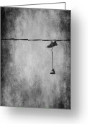 Abstract Greeting Cards Greeting Cards - Walking On A Wire Greeting Card by Jerry Cordeiro