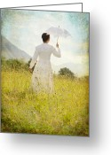 Mountain Texture Greeting Cards - Walking On The Meadow Greeting Card by Joana Kruse