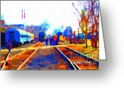 Tanker Train Greeting Cards - Walking On The Train Tracks In Old Sacramento California . Painterly . Vision 2 Greeting Card by Wingsdomain Art and Photography