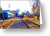 Tanker Train Greeting Cards - Walking On The Train Tracks In Old Sacramento California . Painterly Greeting Card by Wingsdomain Art and Photography