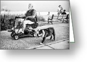 Invalid Greeting Cards - Walking the Dog Greeting Card by Ercole Gaudioso