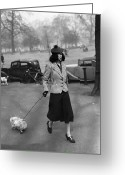Full Skirt Photo Greeting Cards - Walking The Dog Greeting Card by H F Davis