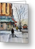 Crosswalk Painting Greeting Cards - Walking the Dog Greeting Card by Ryan Radke