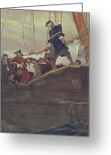 Galleon Greeting Cards - Walking the Plank Greeting Card by Howard Pyle