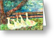 Oil Pastel Greeting Cards - Walking Through The Grass Greeting Card by Arline Wagner
