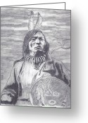 Native American Indians Drawings Greeting Cards - Walks Away Greeting Card by Tony  Nelson