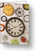 Face Greeting Cards - Wall Clocks Greeting Card by Garry Gay