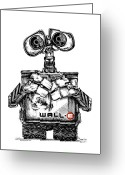 Pen And Ink Drawing Drawings Greeting Cards - Wall-e Greeting Card by James Sayer