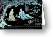 Asian Art Greeting Cards - Wall Mural in Qibao - Shanghai - China Greeting Card by Christine Till