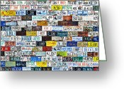 Plates Greeting Cards - Wall of American License Plates Greeting Card by Christine Till