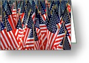 4th July Greeting Cards - Wall of US Flags Greeting Card by Carolyn Marshall