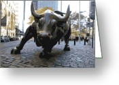 Stock Greeting Cards - Wall Street Bull Color 16 Greeting Card by Scott Kelley