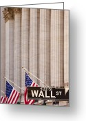 Nasdaq Greeting Cards - Wall Street Columns Greeting Card by Brian Jannsen