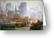 Wall Street Painting Greeting Cards - Wall Street Ferry Ship Greeting Card by Colin Campbell Cooper