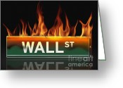 International Crisis Greeting Cards - Wall Street sign on fire Greeting Card by Steven Puetzer