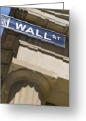 Classical Style Greeting Cards - Wall Street Sign Greeting Card by Tetra Images