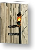 Manhattan Greeting Cards - Wall Street Traffic Light Greeting Card by Oonat