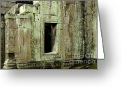 Color Pyrography Greeting Cards - Wall Ta Prohm Greeting Card by Bob Christopher
