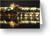 Karluv Most Greeting Cards - Wallenstein Palace at Night Greeting Card by Nimmi Solomon