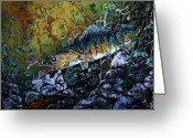 Fish Tapestries - Textiles Greeting Cards - Walleye - On the Rocks Greeting Card by Sue Duda