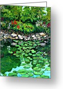 Lilly Pads Greeting Cards - Wallingford pond Greeting Card by Will Lewis