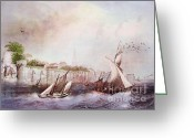 Lianne_schneider Boats Fine Art Print Greeting Cards - Walls of Southampton Greeting Card by Lianne Schneider