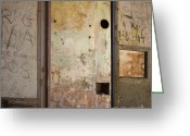 Deteriorated Greeting Cards - Walls with graffiti in an abandoned house. Greeting Card by Bernard Jaubert