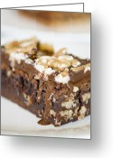 Moist Greeting Cards - Walnut brownie on a white plate Greeting Card by Ulrich Schade