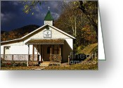 Stormy Skies Greeting Cards - Walnut Grove Church Greeting Card by Thomas R Fletcher
