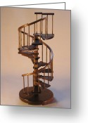 Spiral Sculpture Greeting Cards - Walnut spiral staircase  Greeting Card by Don Lorenzen
