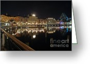 Reflection Pyrography Greeting Cards - Walt Disney World - Boardwalk Villas  Greeting Card by AK Photography