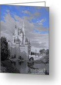Reflection Pyrography Greeting Cards - Walt Disney World - Cinderella Castle Greeting Card by AK Photography