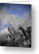 Fantasy Pyrography Greeting Cards - Walt Disney World - Partners Statue Greeting Card by AK Photography