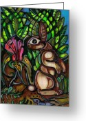 Hare Mixed Media Greeting Cards - Walter Anderson and Me No 1 Greeting Card by Edward Ruth