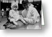 Professional Baseball Greeting Cards - Walter Johnson holding a baby - c 1924 Greeting Card by International  Images