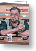 John Goodman Greeting Cards - Walter Sobchak Greeting Card by Tom Roderick