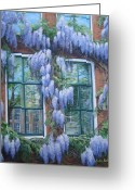 Window Panes Greeting Cards - Wandering Wisteria Greeting Card by Anda Kett
