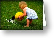 Puppies Greeting Cards - Wanna Play Ball Greeting Card by Susie Weaver