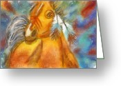 Contemporary Horse Digital Art Greeting Cards - War Horse  Greeting Card by Darla Sikes
