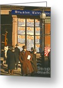 Store Fronts Greeting Cards - War News Christmas 1940 Greeting Card by Padre Art