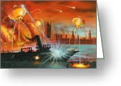Martians. Greeting Cards - War Of The Worlds, Artwork Greeting Card by Richard Bizley