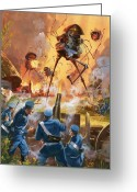 Aflame Greeting Cards - War of the Worlds Greeting Card by Barrie Linklater