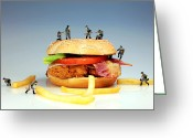 Tomato Digital Art Greeting Cards - War on a Hamburger II Greeting Card by Mingqi Ge