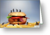 Tomato Digital Art Greeting Cards - War on a Hamburger Greeting Card by Mingqi Ge