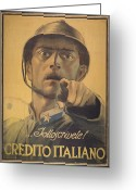 Italy Drawings Greeting Cards - War Greeting Card by Stefan Kuhn