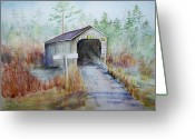 Covered Bridge Painting Greeting Cards - Wards Creek Bridge Greeting Card by Sheila Howell