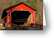 Wooden Ware Greeting Cards - Ware Covered Bridge Greeting Card by Mike Martin